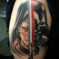 Star Wars themed colored shoulder tattoo of Darth Vader