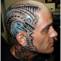 Steel plates and mechanisms tattoo on head