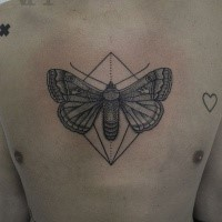 Stippling style black chest tattoo of big butterfly with small heart