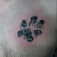 Stippling style black ink animal paw print