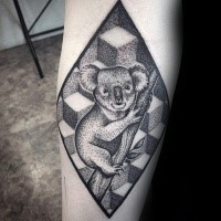 Stippling style black ink arm tattoo of sweet koala with geometric figures