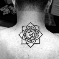 Stippling style black ink flower tattoo on neck with Hinduism symbol
