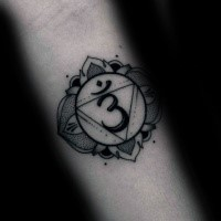 Stippling style black ink hand tattoo of Hinduism symbol with flower