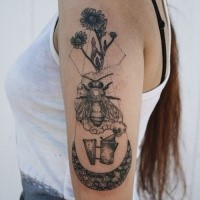 Stippling style black ink shoulder tattoo of bee with flowers and moon