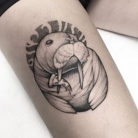 Stippling style black ink thigh tattoo of cool animal with pizza