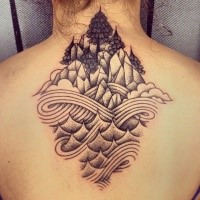 Stippling style black ink upper back tattoo of rock mountains with waves