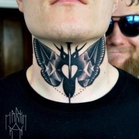 Stippling style colored neck tattoo of butterfly