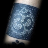 Stippling style colored tattoo of Hinduism symbol