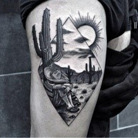 Stippling style incredible looking thigh tattoo of Mexican cowboy with cactus and sun
