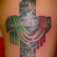 Stone cross with flag of italy tattoo