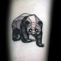 Stone like 3D style interesting looking panda tattoo