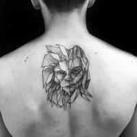 Stone like black ink upper back tattoo of strange looking lion
