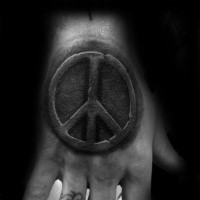 Stone work style black ink hand tattoo of pacific symbol