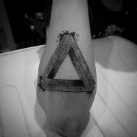 Stonework style awesome looking arm tattoo of big symbol