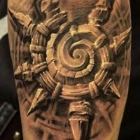 Stonework style black and white forearm tattoo of mystic symbol