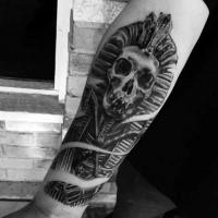 Stonework style black ink forearm tattoo of Pharaoh skeleton statue