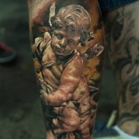 Stonework style colored leg tattoo of little angel statue