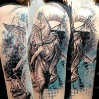 Stonework style colored shoulder tattoo of angel statue
