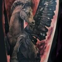 Stonework style colored tattoo of Pegasus horse statue