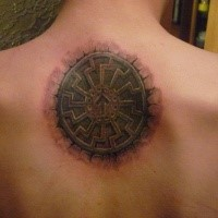 Stonework style colored upper back tattoo of ancient tablet