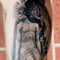 Stonework style detailed biceps tattoo of angel skeleton with human