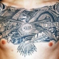 Stonework style detailed chest tattoo of join or die lettering with crossed rifles and feather
