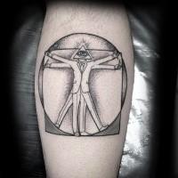 Tatuaggio di inchiostro nero dall'aspetto strano dell'uomo vitruviano con la testa a forma di triangolo