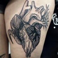 Strange looking dotwork style painted by Michele Zingales thigh tattoo of human heart with skull