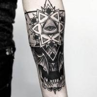 Strange looking forearm tattoo of human skull with ornamental flower