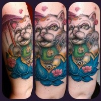 Strange looking modern style colored arm tattoo of maneki neko japanese lucky cat with lotus flower