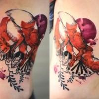 Stark farbenfrohes gemalt von Joanna Swirska Seite Tattoo von niedlichen Fuchs