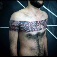 Stunning black ink detailed human finger print tattoo on chest and shoulders