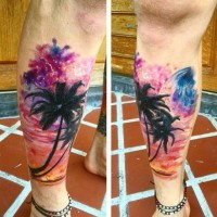 Stunning colored big palm trees with night sky tattoo on leg