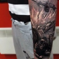 Stunning colored WW2 themed military tattoo on arm