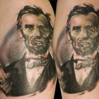 Stunning designed and colored leg tattoo of zombie American president