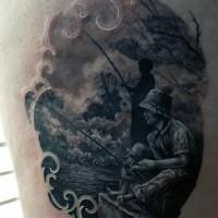 stupendo disegno dipinto inchiostro nero famiglia pescatori tatuaggio su coscia