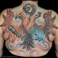 Stunning fantasy designed colored eagle with two heads tattoo on upper back
