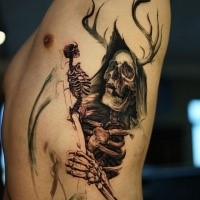 Stunning illustrative style side tattoo of grim reaper with deer horns