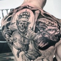 stunning large gray washed style creepy skeleton king with skull and demon tattoo on back