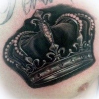 Stunning looking colored chest tattoo of beautiful crown