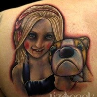 Stunning multicolored scapular tattoo of creepy girl with dog