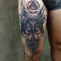 Stunning mystical thigh tattoo of devils wolf with triangle