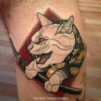 Stunning painted and colored tattoo arm tattoo of samurai cat with sword