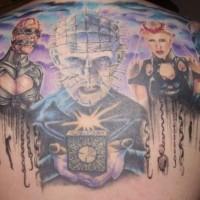 stupendo dipinto massiccio colorato film orrore eroe tatuaggio suparte superriore di schiena