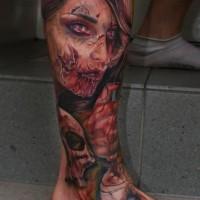 stupendo molto realistico colorato infermiera zombie tatuaggio su gamba