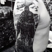 Stunning very realistic modern military tattoo on arm