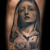 Suffering Virgin Mary religious gray ink realistic tattoo on man's side with rose flower