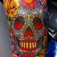 Sugar skull with yellow rose tattoo