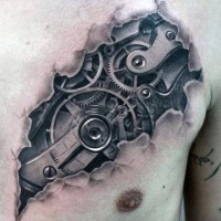 Super 3D realistic biomechanical tattoo in torn skin on chest