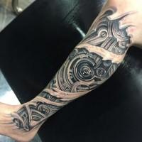 Tatuaje en la pierna, partes biomecánicas estupendas 3D